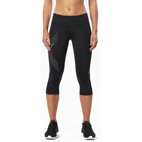 2XU Mid-Rise Compression 3/4 Long Tights Women Black/Dotted Reflective Logo